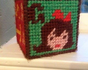 Needlepoint Block Toy with jingly bell inside baby G is for GIRL