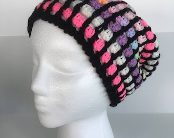Colorful Gridded Crochet Beanie, Fall/Winter Fashion Hats