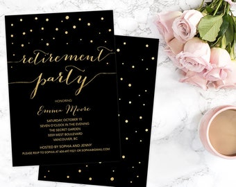 Retirement Party Invitation, Black Gold Retirement Party Invitation, Gold Glitter Retirement Invitation, Farewell Party Invitation
