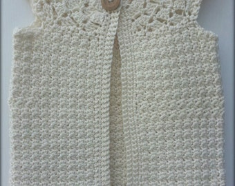 Crochet Girls Cardigan, Girls Sweater, Child cardigan, Child sweater, Child Vest, Sizes 6-10