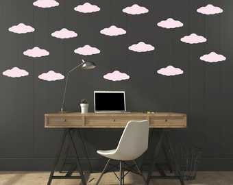 FREE SHIPPING Wall Decal Clouds Color Pastel Pink. Nursery Wall Decal. Kids Wall Decal. Vinyl Wall Decal.