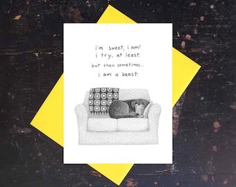 Hund auf Sofa Notecard