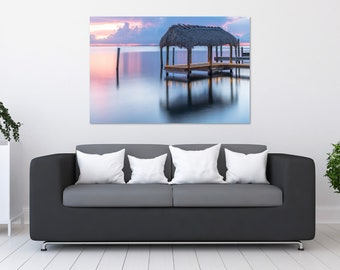 Florida Keys Pastel Tiki Sunset Photo Print | Wall Art | Nature and Landscape Photography | (5x7, 8x10, 12x18, 16x24, 20x30, 24x36, 40x60)