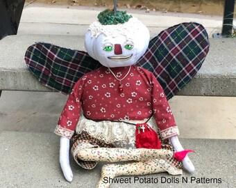 Handmade Folk Art  Winter Pumpkin Angel  Art Doll  Cloth Doll