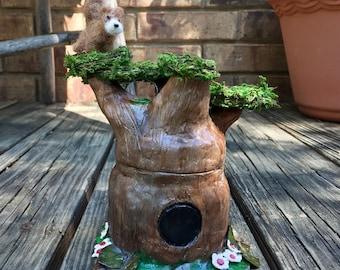 Tree Fairy Jar with Squirrel