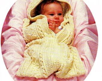 Baby Crochet Pattern, Aran Crochet Baby Bunting Pattern, Fisherman Crochet, Baby Shower Gift Idea, INSTANT Download Pattern PDF (1316))