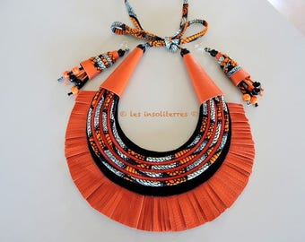 African ethnic orange and black MULTISTRAND necklace with leather wax