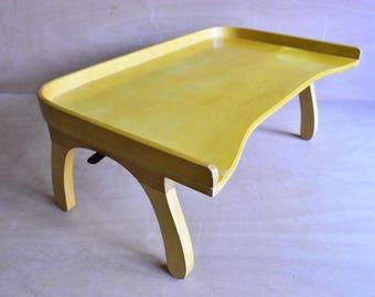 Vintage Breakfast Tray - Retro Wooden Breakfast In Bed Plate With Legs - Torck Design Folding Table in Beech Wood. 1950s Kitchen Accessory.