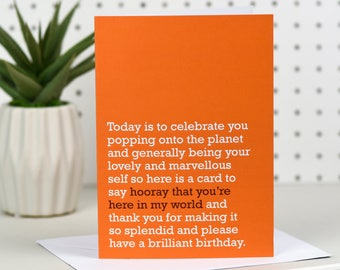 Hooray That You're Here In My World - Birthday Card