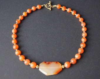 Natural Carnelian and Gold Vermeil Necklace