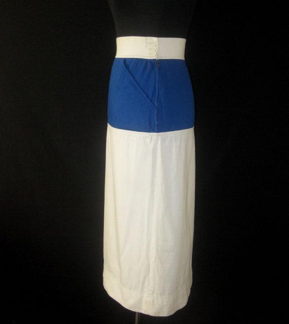 White Pencil Rive Vintage 1980s Skirt Laurant XS amp; Blue YSL Saint Gauche tzw8zF