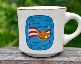 Boy Scout Coffee Mug. North Central Region. Boy Scouts of America. BSA.  Red White Blue. Gold Trim.  VCMS196