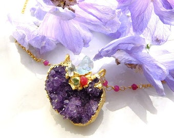 Amethyst cluster necklace   herkimer diamond  aquamarine peridot  spinel electoroforming