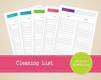 Colorful Cleaning List - Printable and Editable Cleaning Checklist  - INSTANT PDF DOWNLOAD - 5 Pages