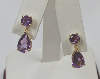 Natural Amethyst Dangle Earrings 925 Sterling Silver Gold Plated