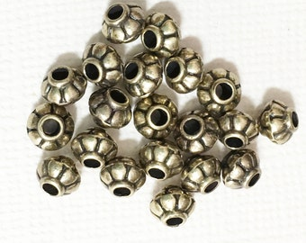 100 pcs of antique brass rondelle spacer beads 4x5mm,  metal spacer beads
