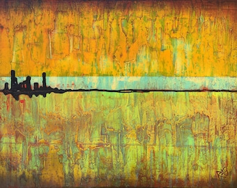 Sunset In The City Original Painting By Artist Rafi Perez Mixed Medium on Canvas 18X24