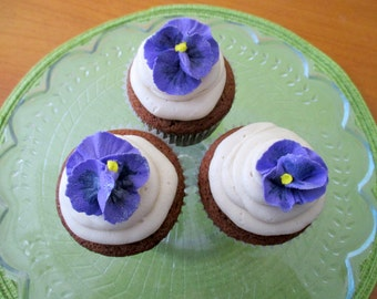 """Royal Icing Purple Pansies Size 1 1/4"""" + 12 Pieces ReAdY To ShIp!"""