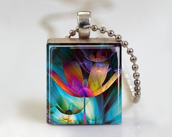 Bright Colorful Flower Fantasy - Scrabble Tile Pendant - Free Ball Chain Necklace or Key Ring