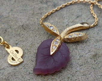 Signed Christian Dior Vintage Amethyst Leaf With Rhinestones Necklace - SALE!