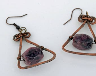 Rhodonite and copper earrings, rhodonite gemstone earrings, antiqued copper and rhodonite earrings