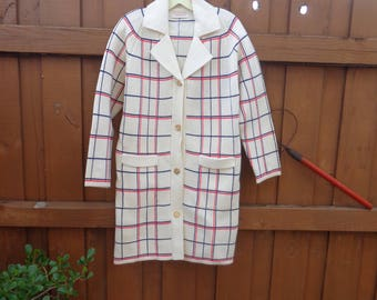 VINTAGE 1970's Ladies Knit Red, Winter White and Blue Winter Coat by Knit Fashion, Inc. - available