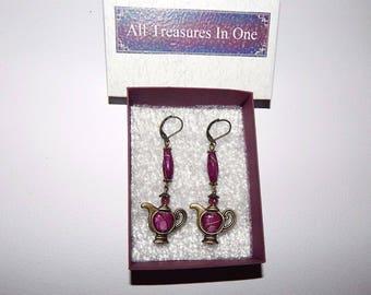 Tea Pot Earrings, Teapot Earrings,  Tea Party Gift, Tea lovers earrings, tea earrings, bronze tone earrings  # et 678