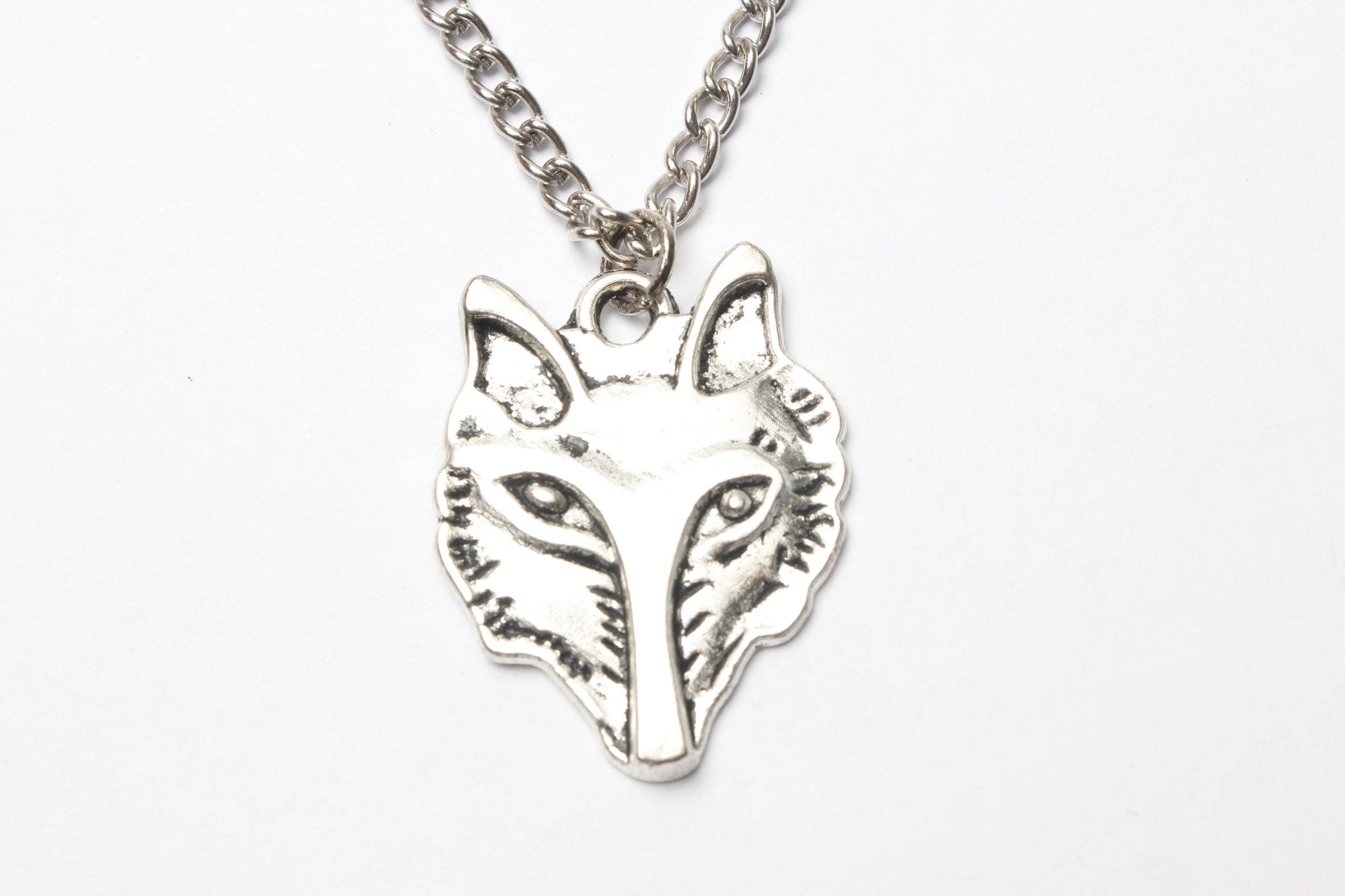 hand a goth wolf to off items similar has statement plated boho handmade pendant etsy vintage silver from head pin been cut halloween jewelry on one