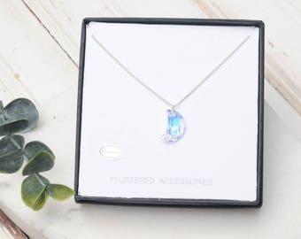 Crescent Moon Necklace, Swarovski Crystal Necklace, Charm Necklace, Layering Necklace, Moon Jewelry, Layering Necklace, Crystal Moon
