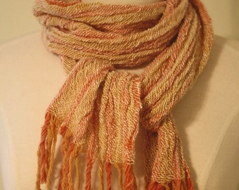 Hand Spun Alpaca, Merino, and Angora Scarf Natural Dyed and Handwoven