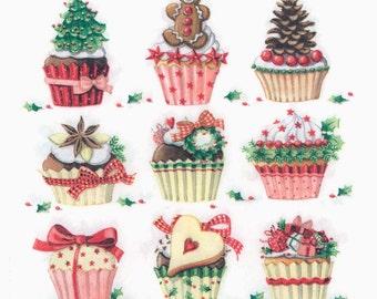 Decoupage Napkins   Christmas Cupcakes Muffins Sweets   Christmas Napkins   Cupcake Party Napkins Paper Napkins for Decoupage
