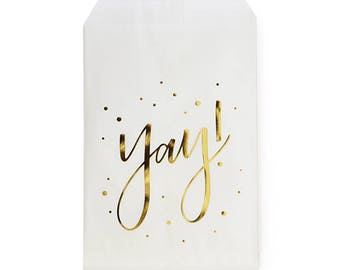 Yay! Script Gold Foil Stamped Treat Bags