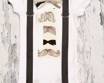 Sale Mustache  Bow tie and Suspenders set, Boy Cake Smash, Boy first year outfit, Boy number 1, Boy birthday, Boy Second