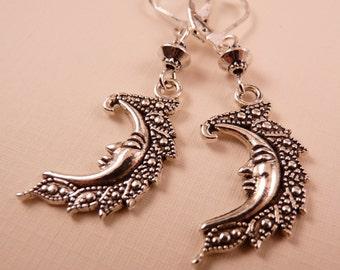 Moon Earrings Silver Earrings Celestial Earrings Moon Jewelry Celestial Jewelry  Beaded Jewelry  Silver Jewelry  Metal Jewelry