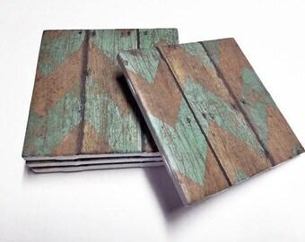 Teal Chevron Coasters - Wood Design - Teal Home Decor - Drink Coasters - Tile Coasters - Ceramic Coasters - Table Coasters On Sale