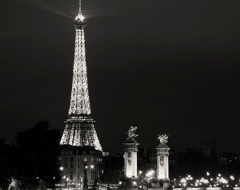 Paris photo - Paris After Hours - Eiffel, City Lights - Fine art photography - Black and White Photography - urban, modern