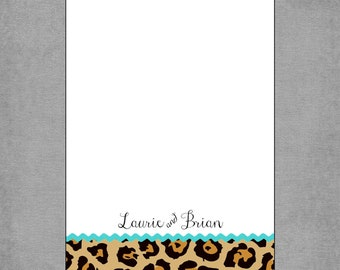 Notepads - Stylish Cheetah - Personalized Custom 5x7 Notepads - Set of 2 - Thoughtful Gift or Shopping List - Laurie**
