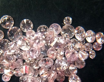 10 Pcs Pink Brilliant Cut Polished Round Diamonds, 1-2mm Faceted Loose Natural Diamond, Sparkling Pink Solitaire Diamond - DS3621