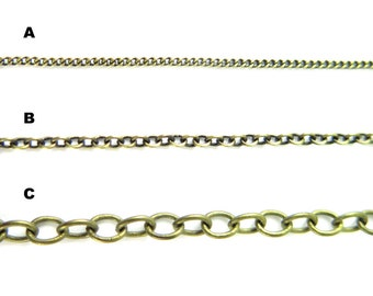 Antiqued Brass Plated Chain for Customized Necklace, Choker, Bracelet, Anklet Jewelry