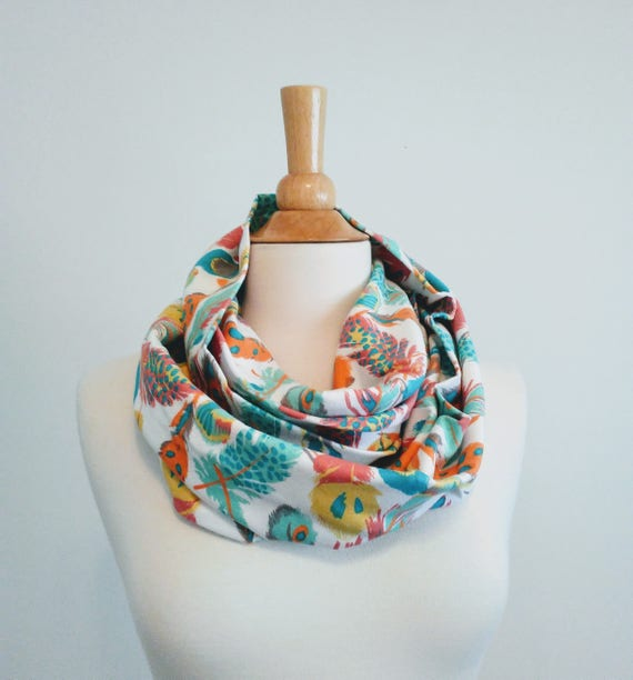 Feather print infinity scarf aqua and white feather print scarf women's scarves cotton jersey gift for her pastel accessory spring scarf