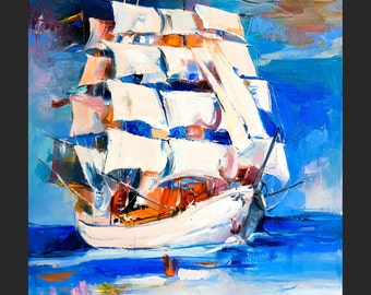 Dream Yacht — PALETTE KNIFE Modern Sailing Oil Painting of Yacht On Canvas By Ivailo Nikolov - Size:  26''x 20''
