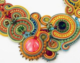 Soutache  necklace spring - Multi colored statement collar, fashion jewellry