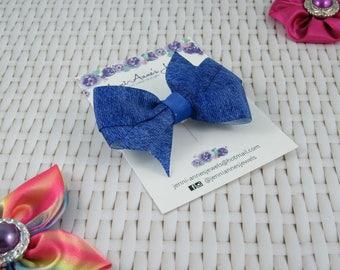 Pinwheel Hair Bow Clip - Denim Look