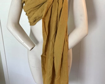 Mustard linen ring sling with your choice color rings