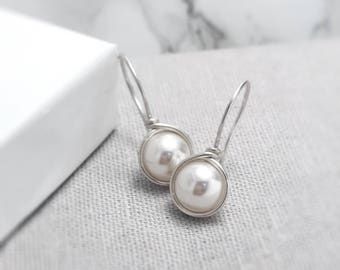Pearl Earrings Sterling Silver | June Birthstone | Pearl Earrings UK | Ivory Pearl Earrings | Silver Pearl Earrings | Pearl Jewellery UK