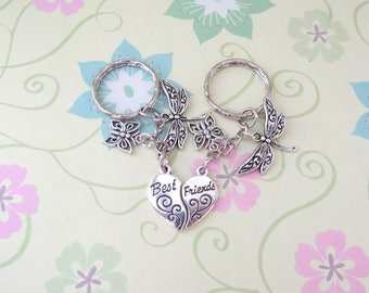 A set of 2 Silver Best Friends Keychain with a Butterfly and Dragonfly Charm/Friendship Gift/Friendship Keychain - Ready to Ship