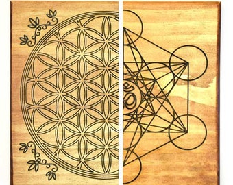 Metatron's Cube Flower of Life  Crystal Grid - Double Side - Sacred Geometry - Grid Layout - Crystal Healing - Grid Template - Manifestation