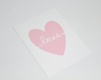 """Pink Shimmer Heart on White Shimmer paper with the word """"love"""" // pink heart with love // hand lettering // love print // PRINT SIZE 5x7"""