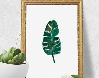 Watercolor Print - Green Leaf Digital Download Art Print