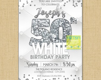 All White Party Invitation, Milestone Birthday Invitation, Milestone White Party Invite, White Silver, WHite Gold, White Party ANY AGE Invit